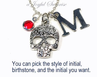 Skull Necklace, Silver Sugar Skull Jewelry, Mexican Catrina Gifts, Pewter Skull Charm Calavera Pendant, Personalized Birthstone Initial Girl