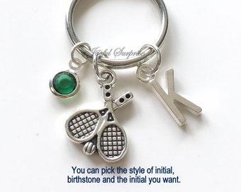 Tennis KeyChain, Silver Tennis Player Keyring Tennis Racket Key Chain Gift For Tennis Mom Jewelry Letter birthstone initial custom purse