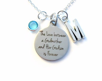 The Love between a Godmother and Godson Necklace, Gift for God Mother Jewelry Baptism Present Birthstone initial her from Son Chain silver