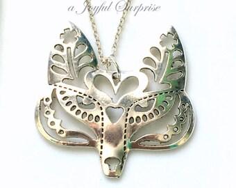 Fox Necklace, Silver Fox Jewelry, Large Fox Pendant Charm, Fox Gifts Fairy Tale Geometric Silver Fox Filigree Fox Wolf Pewter Gift Present