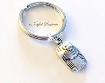 Gift for Boyfriend Keychain, Baseball Hat Keyring, Ball Player's Key Chain, Silver Boy Cap Keyring, Boy's Gift under 10 for teenager boy man