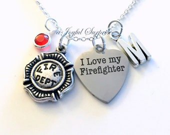 I love my Firefighter Necklace, Fireman Wife Jewelry, Fire Emblem Firemen charm Initial Birthstone Birthday present Engraved Stainless woman
