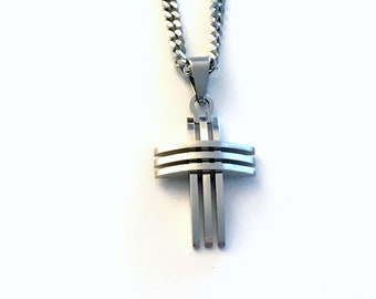 Stainless Steel Cross Necklace for Man / 3mm Curb Chain / Biker Jewelry / Religious Gift for Men / Dad Boyfriend Husband / Won't Tarnish