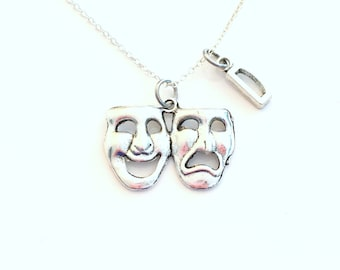 Theatre Necklace / Performing Arts Gifts / Drama Mask Jewelry / ancient Greek Muses / Thalia and Melpomene silver charm / Pendant present