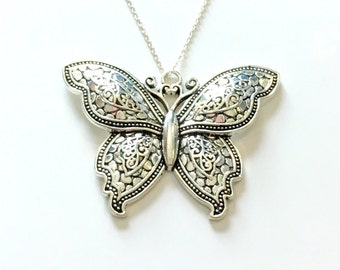 Large Butterfly Necklace, Butter Fly Statement Jewelry, Silver Charm Women Pendant Fashion Birthday Gift Present 925 Sterling Chain Detailed