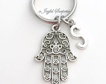Hamsa Keychain, Hand of Fatima Key chain Silver Filigree Protection Keyring Charm Jewelry New Driver Gift Initial Man Men Custom Safety her