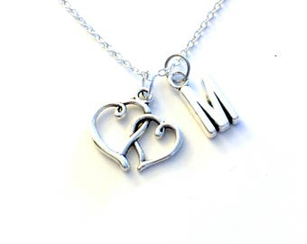 Heart Jewelry, Gift for Mom Necklace, Silver Double Heart Charm Connected Pendant Mothers day present Valentine Day Monogram from daughter