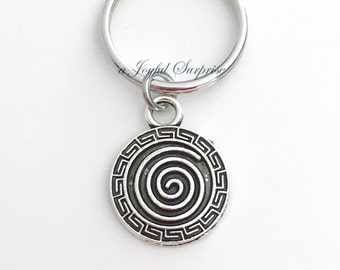 Swirl Key Chain Intuition Keyring Ancient Symbol Keychain Circle Jewelry charm birthday present Christmas Gift spiral Pewter Pendant Pattern