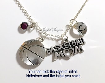 Basketball Mom Necklace, Basketball Jewelry Gift Mother Day Present Charm Personalized Initial Birthstone birthday gift Christmas present