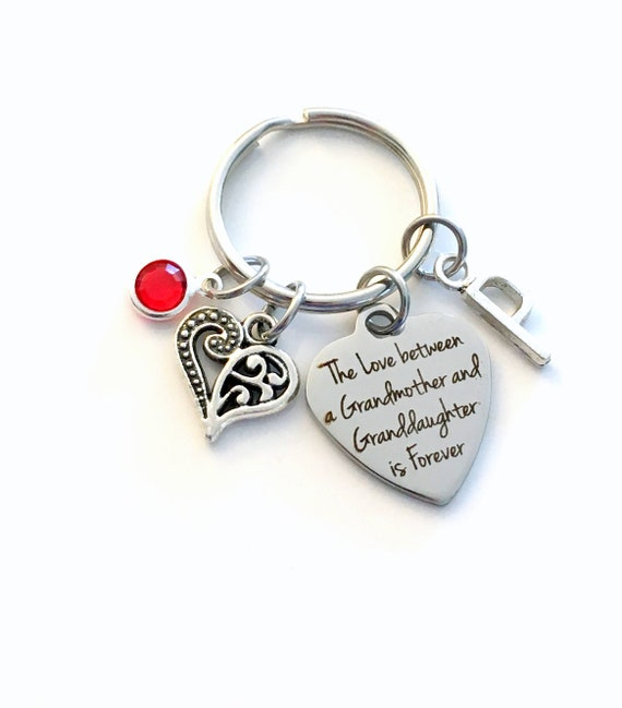 Love Between A Grandmother /& Grandkids is Forever Perfect Grandma Jewelry Gift Personalized Grandma Keychain with Birthstone and Letter Charms
