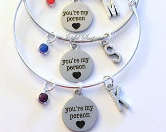 You're my Person Best Friend Gift Set of 2 3 4 Jewelry Charm Bracelet Bangle Silver BFF initial Bridesmaid Birthday Present Youre You are