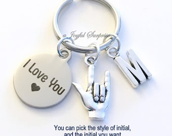 I love you Keychain, I love you Sign Language Key Chain Hand Gesture Keyring Birthday Present Christmas Gift Custom initial letter Wife