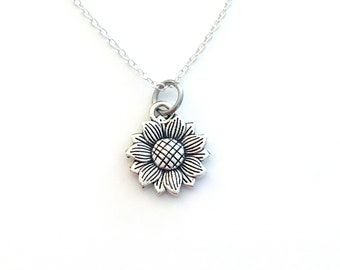 Sunflower Jewelry, Sun Flower Necklace, Silver Floral Charm, Gift for Bridesmaid Present, Bridal party, minimalist daughter friendship love
