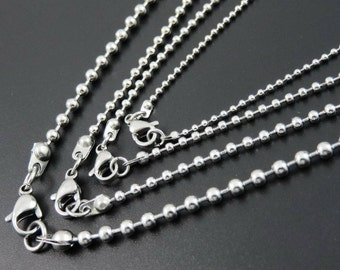 Ball Bead Stainless Steel Necklace Upgrade, 2mm or 1.5mm Dog Tag You pick length 16, 18, 20, 24, 22 30 Inches Add on purchase Jewelry Chain