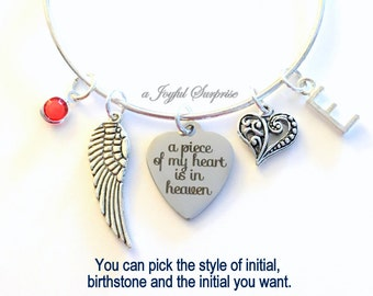 A Piece of My Heart is in Heaven Bracelet Memorial Loss of Mom Dad Brother Sister Son Jewelry Charm Bangle Silver Guardian Angel Wing letter