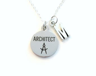 Necklace for Architect Jewelry, Men or Women Gift Architectural Designer Charm Customized Initial letter birthday present her him compass