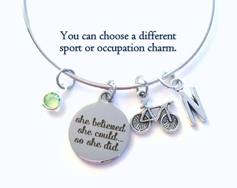Charm Bracelet, She believed she could so she did Gift, Bicycle First Triathlon Jewelry, Silver Bangle, Proud Achievement women her woman