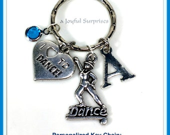 Jazz Dance Keychain, Personalized Tap Dance Key Chain, Dancer's Keyring Step purse charm planner charm Silver Gift for Step dance Teacher
