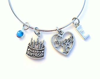 Sweet Sixteen Jewelry, Gift for 16th Birthday Charm Bracelet, Daughter, Bangle initial Birthstone Present Teenage Girl Teen Teenager Happy