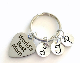 Gift for Mom Key Chain / Keyring with Multiple letters / World's Best Mother Keychain / Mommy Present / Grandmother Family /  for Wife her