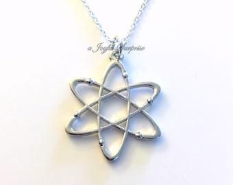 Atom Jewelry Science Necklace for Teenage Boy Man Gift for Scientist birthday molecule present Neutron Nucleus Geek Nerd Chemist Chemistry