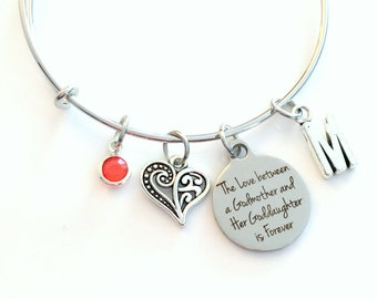 The love between a Godmother and her Goddaughter is forever Jewelry, Gift for Godmom Charm Bracelet, Silver Standard size Bangle Present