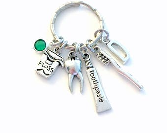Gift for Dental Assistant Keychain, Dentist Hygienist Keyring, Silver Floss Key Chain, Tooth Brush Toothpaste Jewelry, Orthodontist DDH RDH