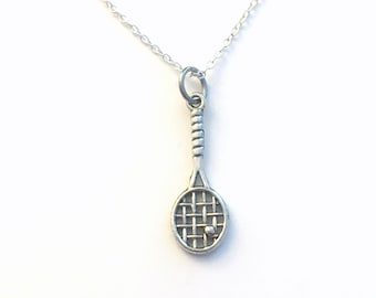 Squash Racket Necklace, Racquetball Jewelry, Gift for Racket Player's Present, Silver Tennis Charm, Son, Daughter, Husband, Boyfriend Men
