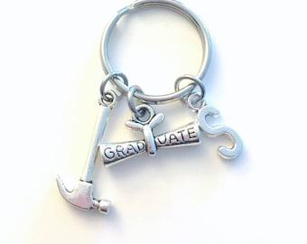 Graduation Gift for Carpenter Keychain, Hammer Key Chain, Tool Keyring Initial Birthstone Birthday present Her Him Women men Personalized