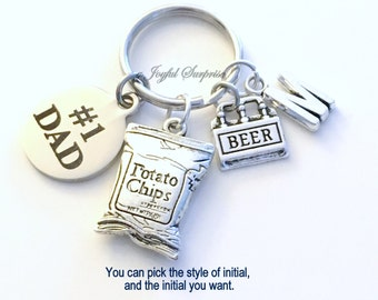 Dad Keychain, #1 Dad's Key Chain, Beer Keyring, Potato Chip Gift for Step Dad Father in Law Birthday Present Christmas silver letter initial