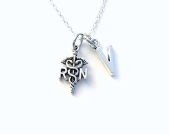 RN Necklace, Gift for Registered Nurse Jewelry, Nurse's Appreciation Day Present, Emblem Symbol Charm Thank you Man Men Dad Son him or her