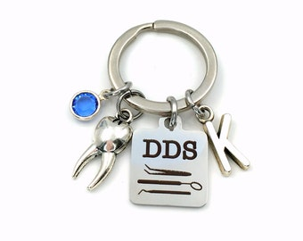 Dentist Key Chain, DDS Tooth Keychain, Gift for Doctor of Dental Surgeon Keyring, Jewelry Initial Birthstone women Present her him women men