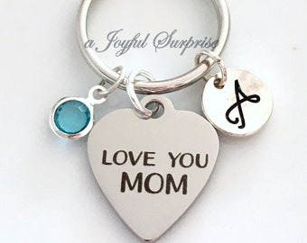 Gift for Mom Keychain, Love you mom Keyring, Mum Key chain, Personalized Mother's Day Gift Birthday Present Birthstone initial Purse Charm