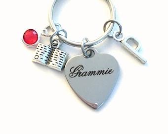 Gift for Grammie KeyChain, Grammy Key Chain, Grandmother Keyring Jewelry Initial Birthstone present women her mom bible charm birthday woman