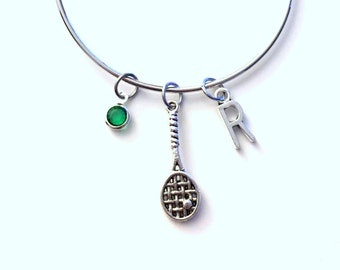 Squash or Racquetball Racket Jewelry Charm Bracelet Bangle, Gift for Tennis Player Silver initial Team Initial birthstone Present birthday