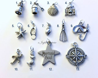 Beach Charm, Add on to any of my listings 1 single Pendant, Silver Starfish Mermaid Compass flipflop shell scuba gear lighthouse sand pail
