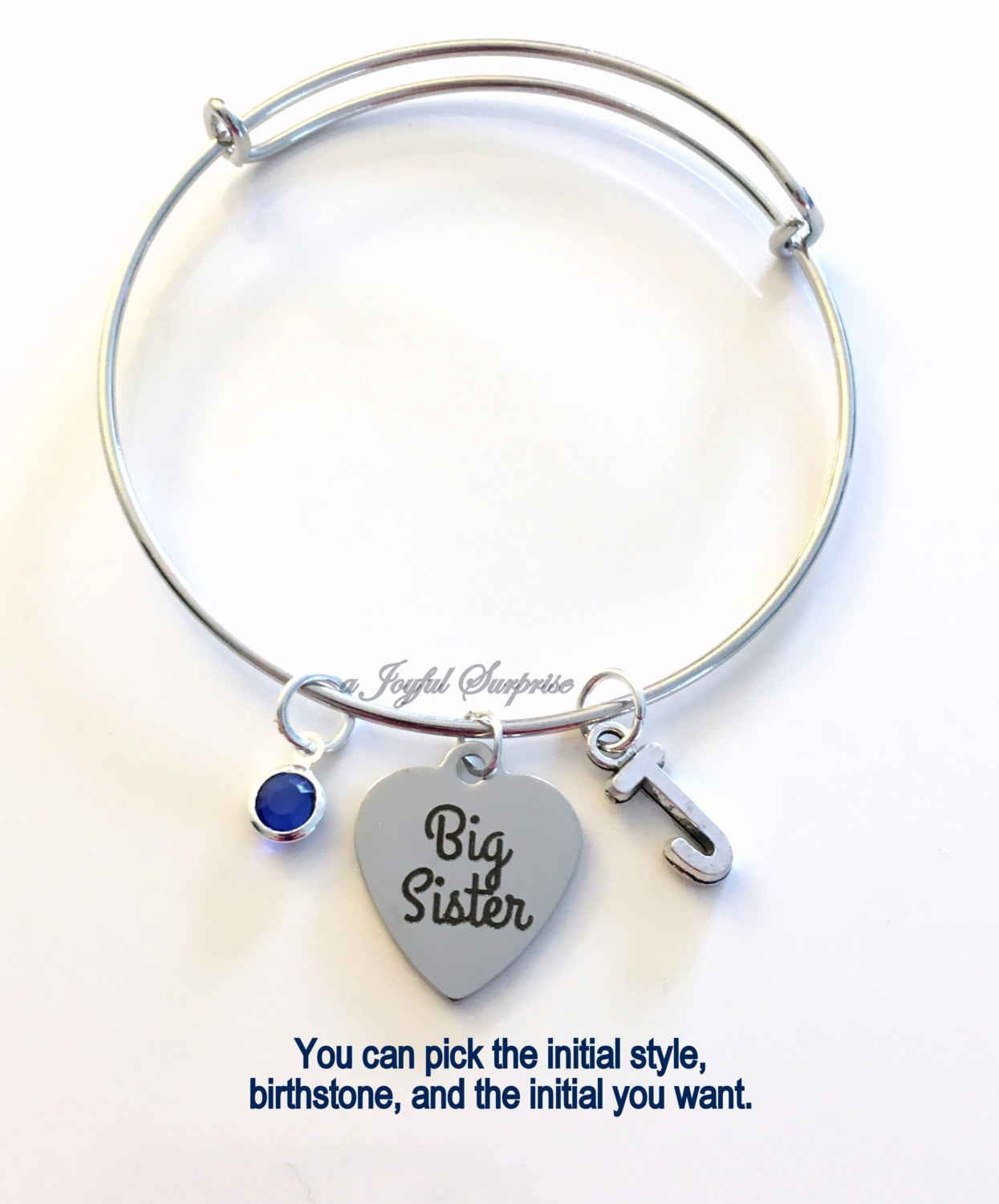 Gift For Baby Middle Little Big Sister Set Of 2 3 Or 4 Bracelet Jewelry Charm Bangle Silver Initial Birthstone Birthday Present Sis