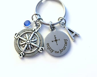 Enjoy the Journey Keychain, Graduation Gift for Traveler Key Chain Quote Compass Keyring Present Travel Agent Initial Birthstone Pilot Woman
