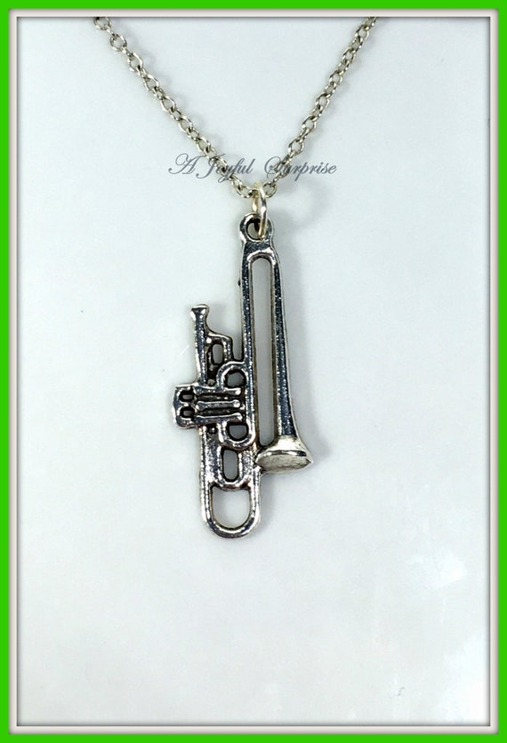 SILVER NECKLACE Saxophone Guitar Trombone Harp Birthstone Charm Birthday Gift