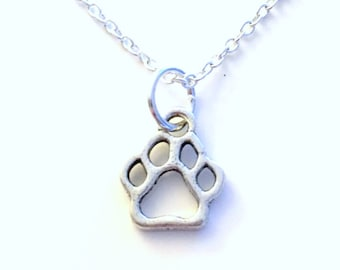 Bear Print Necklace, Dog Paw Jewelry Gift for Little Boy Grandson Son Nephew Doggy Pet Animal Silver charm present Short Long Chain Sterling