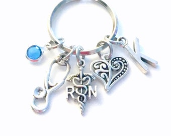 RN Keychains for women, Registered Nurse Key Chain, Stethoscope Heart Keyring Jewelry, Nursing Initial Birthstone her, Graduation Retirement