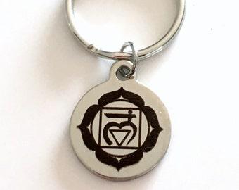 Muladhara Root Chakra Key Chain, First 1st Kundalini Gift for Chinese Medicine Healer Present KeyChain keyring survival center yoga charm