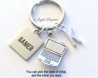 Gamer Keychain, Computer Game Designer Key Chain Gift For Streamers Keyring Birthday Present Laptop Gaming Geek Video game player initial
