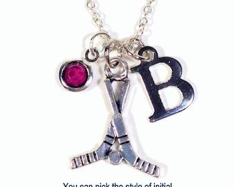 Hockey Necklace, Hockey Stick Jewelry, Gift for Player Silver Charm initial birthstone Birthday Present Christmas Boy Girl Mom Team Girl Dad