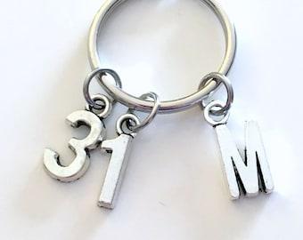 Number Keychain, Jersey Sport for Baseball, Hockey, Soccer, Softball Ringette Keyring Key Chain Charm 1 2 3 4 5 6 7 8 9 10 16 18 21 30 40 50