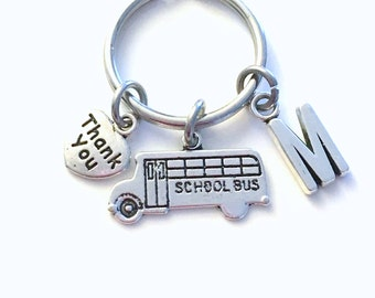 School Bus Keychain, Gift for Bus Drivers Present, Bus Keyring, Vehicle Key chain School Jewelry Bus Driver Thank you Appreciation her him