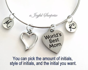 Mother's Day Gift Bracelet, World's Best Mom, with 2 or more Initial Charm bangle Momma Mum Jewelry, Silver Multiple letters 1 3 4 5 6 7 8 9