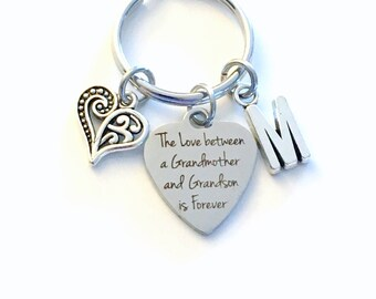 The love between a Grandmother and Grandson is Forever KeyChain, Gift for Grammy Key Chain, Keyring Jewelry Initial letter present Nanny him