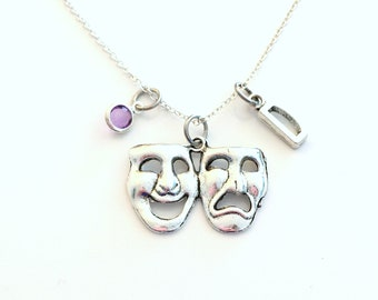 Theater Necklace / Musical Jewelry / Gift for Actress Actor Present / Drama Mask Silver Charm / comedy tragedy symbol Pendant / her him