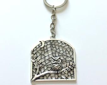 Owl KeyChain, Large Owl in Tree Key Chain, Detailed Bird Animal Keyring Silver Jewelry birthday present Gift for Teenage Girl Teen women